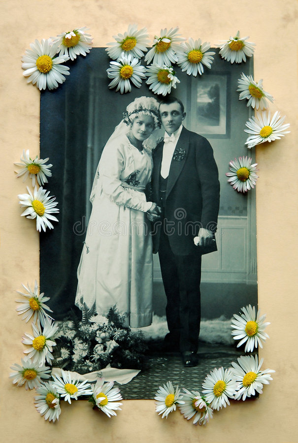 Old wedding photo with daisies vector illustration