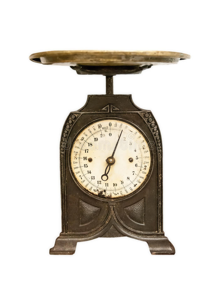 Old weighing scales isolated stock image
