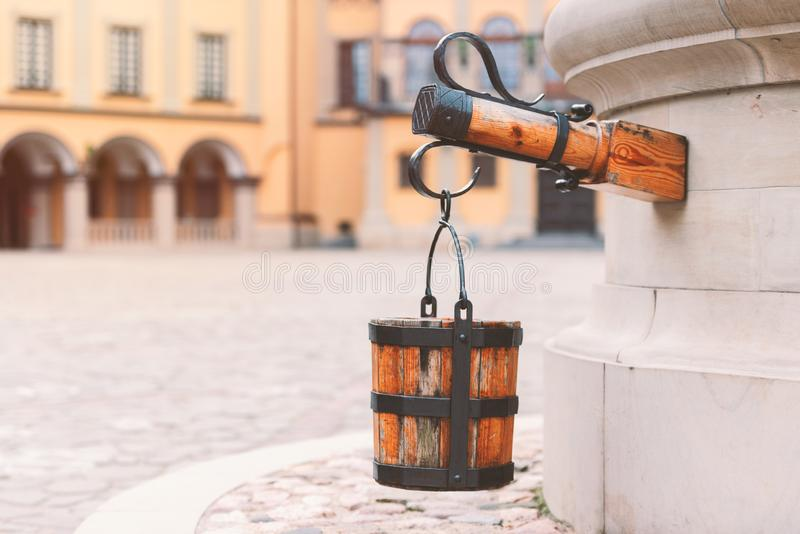 Old well at castle courtyard in Belarus stock images