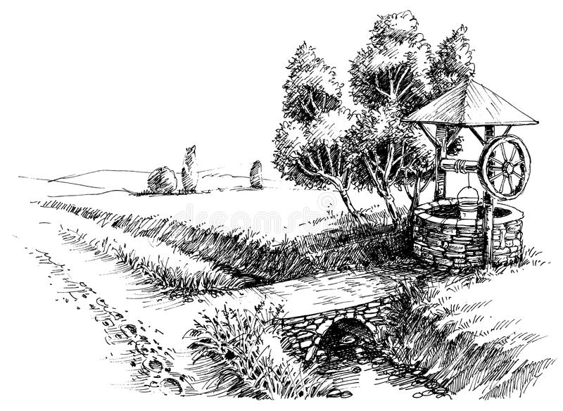 Old well idyllic landscape. Hand drawing vector illustration