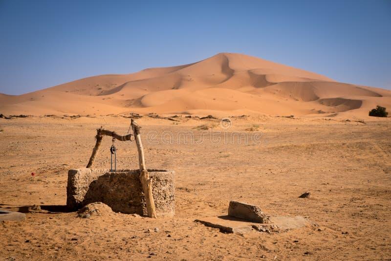 Old well, Morocco, Sahara Desert. Old well on Sahara Desert, Merzouga, Morocco stock images
