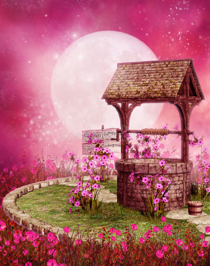 Download Old well in a pink scenery stock illustration. Image of pink - 28623361