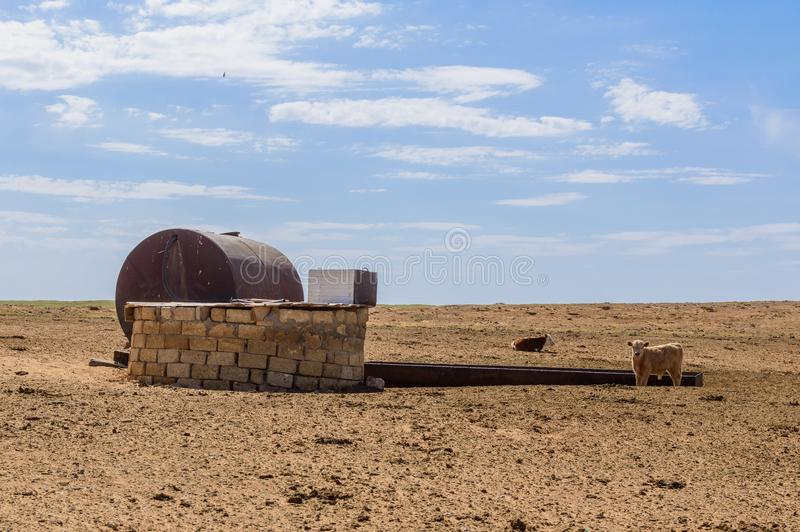 Old well in semi-desert royalty free stock photos