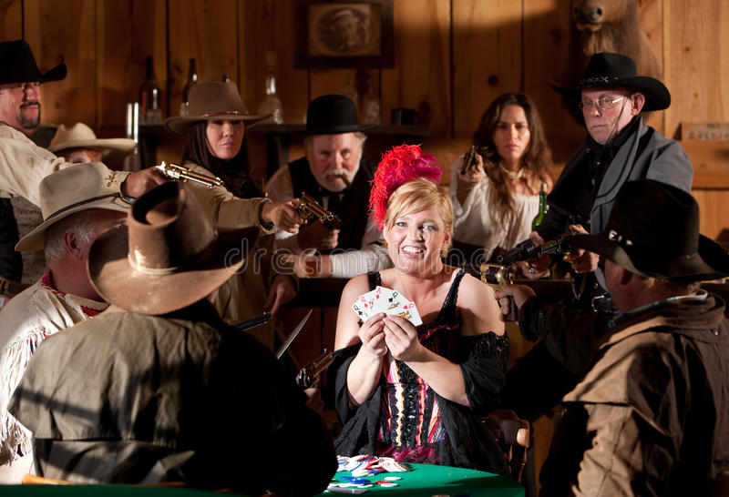Old West Barmaid Caught Cheating Stock Image