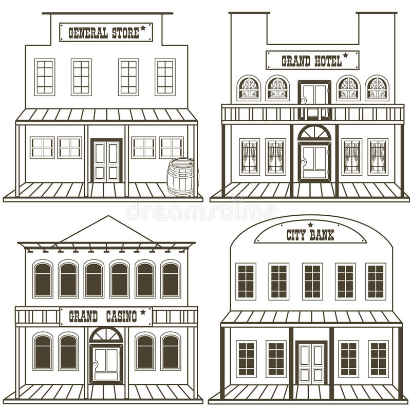 Old west buildings outlined 2 stock illustration