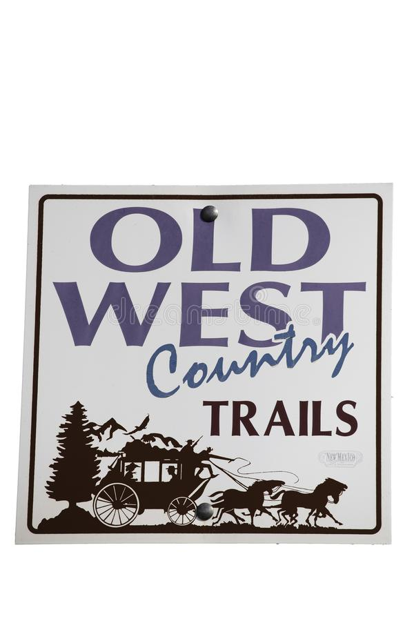Old West Country Trails road sign stock illustration