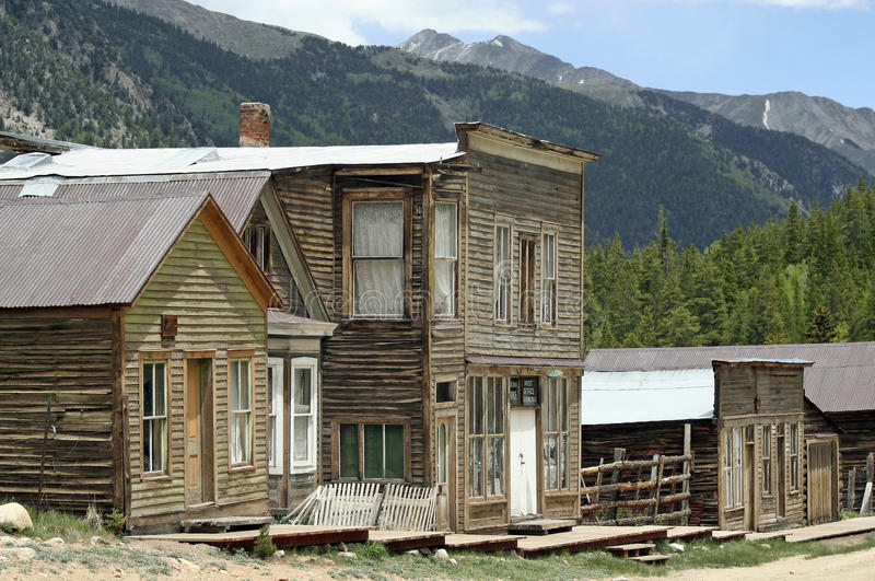 Old West Ghost Town. The remains of a ghost town in the Rocky Mountains. Many towns were built around the mining industry, and later abandoned stock images