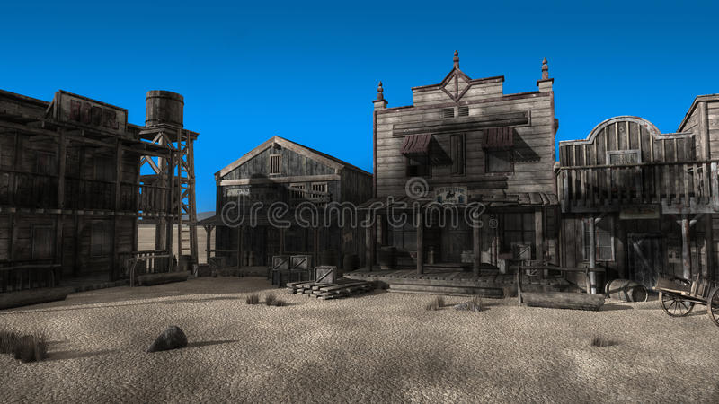 Old West Ghost Town Illustration. Old west or western desert ghost town illustration. An abandoned street with a hotel and saloon can be seen. Can be used as a vector illustration