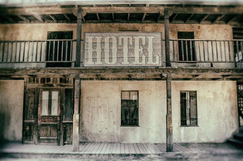 Old West Hotel. An old west hotel in a classic, vintage film setting royalty free stock photos