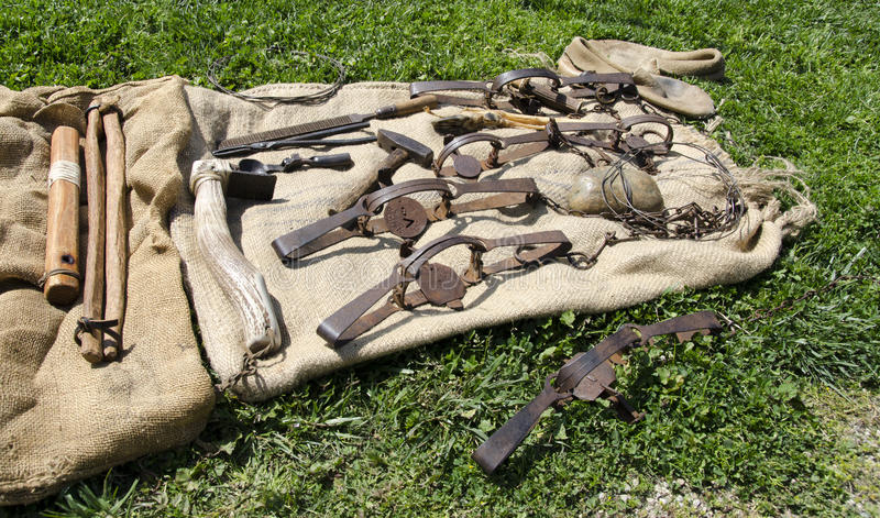 Old West Mountain Man Tools royalty free stock photo