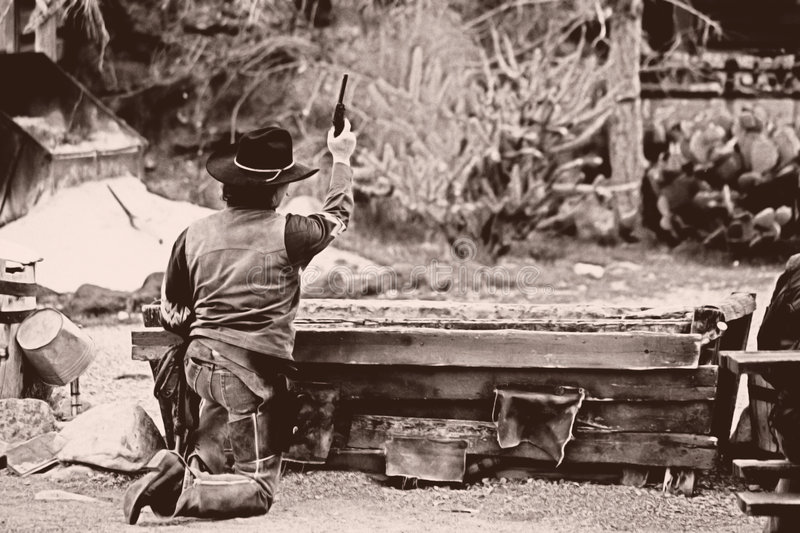 Old West-Shoot Out. Shoot out in the old west royalty free stock photos
