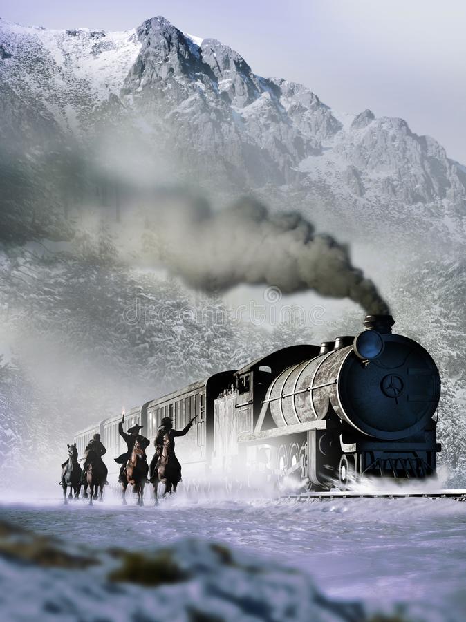 Old west train attack vector illustration