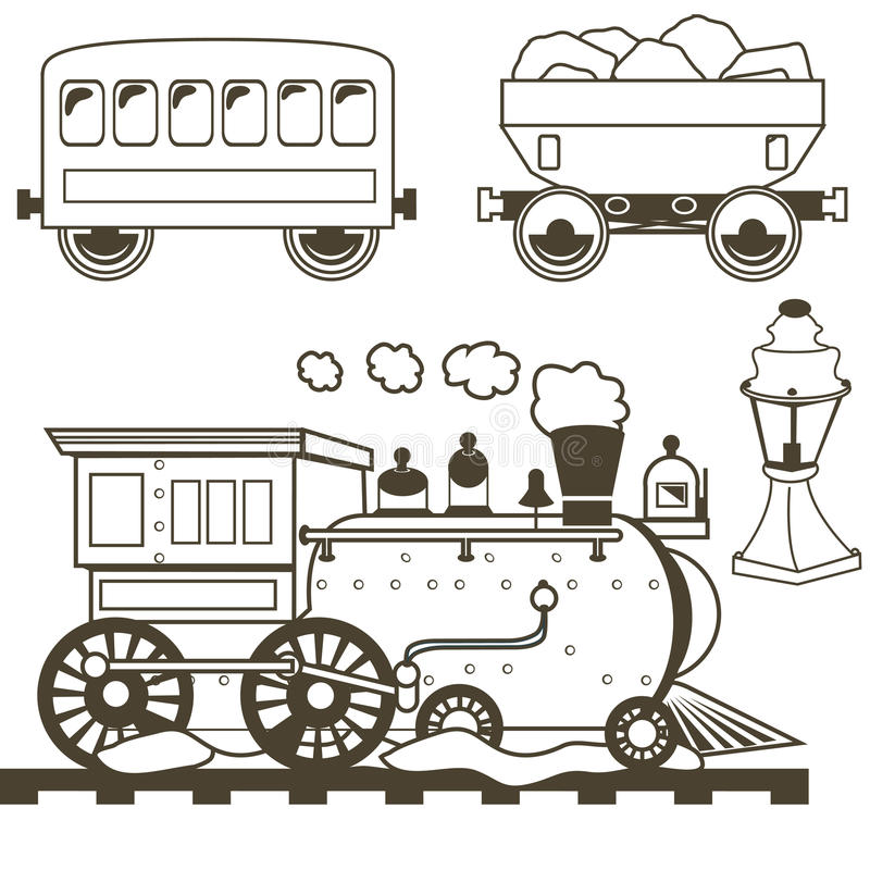 Old west train outlined stock illustration