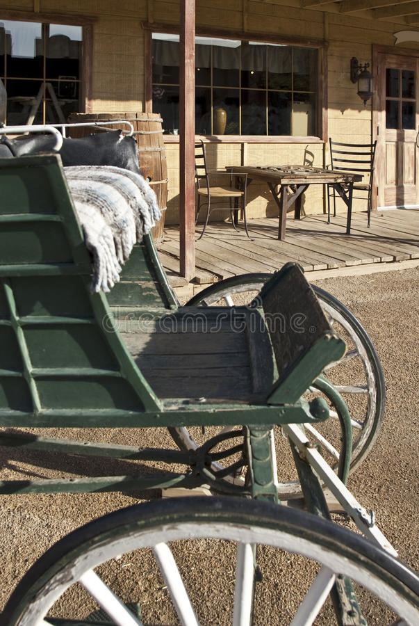 Old Western buggy and general store stock image