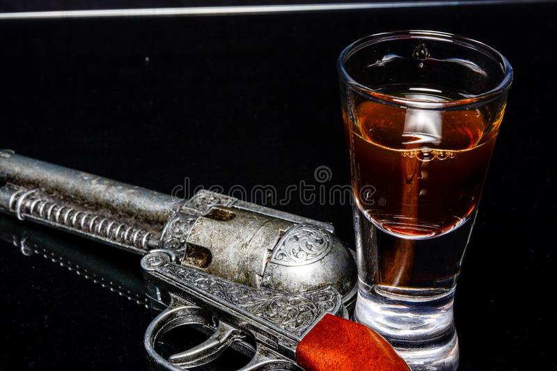 Old western gun. In close ups stock photos