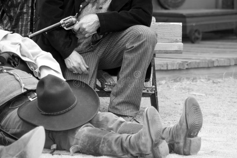Old Western Gunfight. Old western town gunfighter dies after gun battle in Arizona stock images