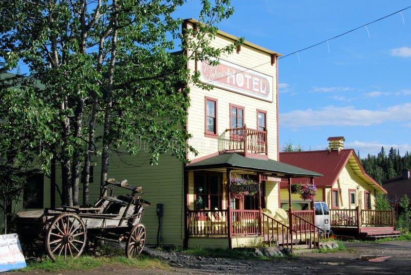 Old western house at McCarthy's Main Street - Alaska. Old colored western house - hotel at McCarthy's Main Street - Wrangell-St. Elias National stock photos