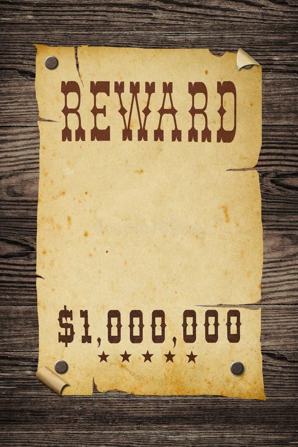 Old western reward sign. royalty free stock photo
