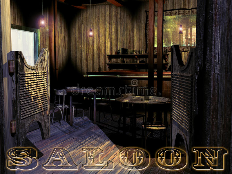 Old western saloon. View of the entrance to an old western saloon, with several tables, a counter, a mirror on the wall. The word Saloon at the bottom of the royalty free illustration