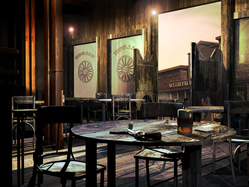 Old western saloon. View of the entrance to an old western saloon, with several tables. On the closest table, playing cards, a bottle and glasses with whisky