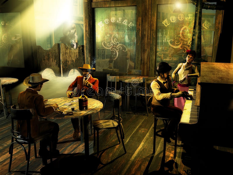 Old western saloon. With several tables, a stove and a piano. On the closest table, two men with playing cards, a bottle, glasses of whisky, and a gun At the vector illustration