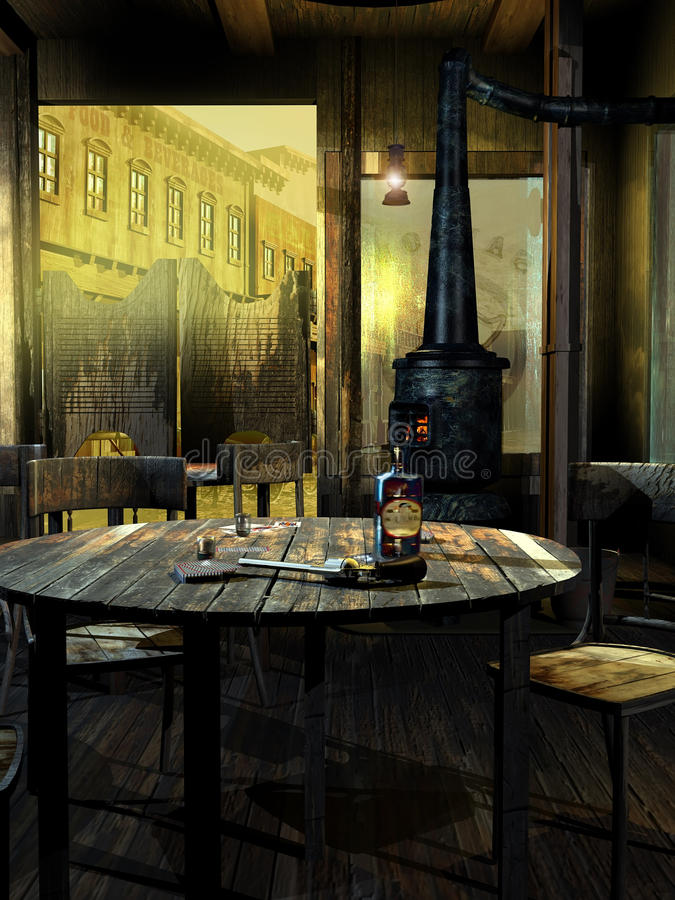 Old western saloon. View of the entrance to an old western saloon, with several tables and a stove. On the closest table, playing cards, a bottle, a glass of stock illustration