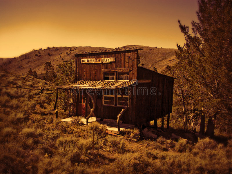Download Old Western Shack stock image. Image of sepia, wood, hills - 21057