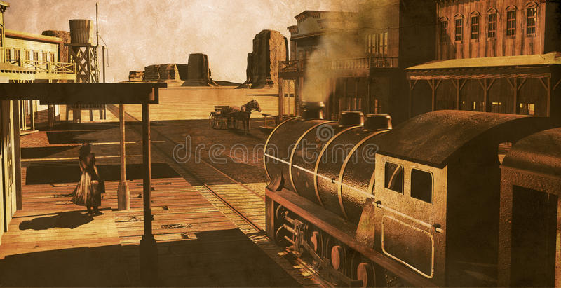 Old western station. View of a train at the station of a western town in the middle of the desert, on a grunge background. Several houses, a cart with a horse royalty free illustration