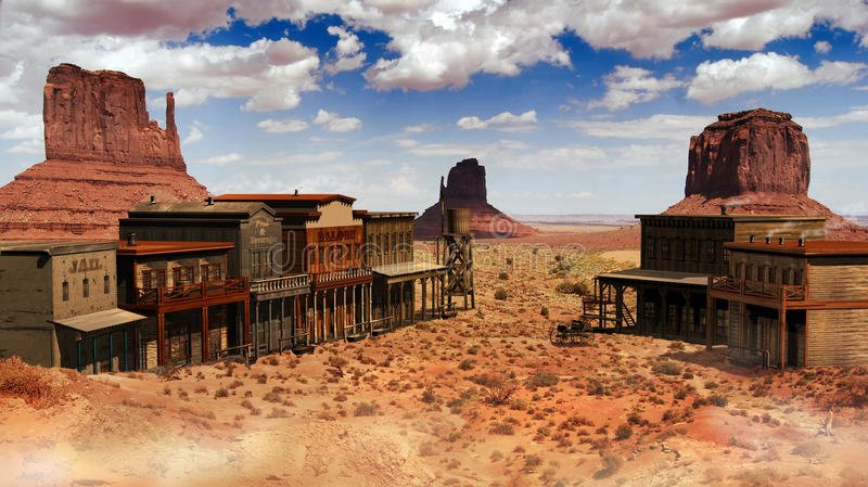 Old western town. View of the street of a western town with several edifices in Monument Valley, Utah