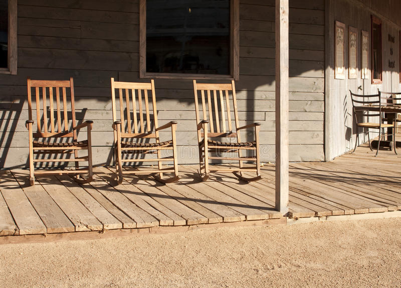 Old Western Town Rocking Chairs royalty free stock photography