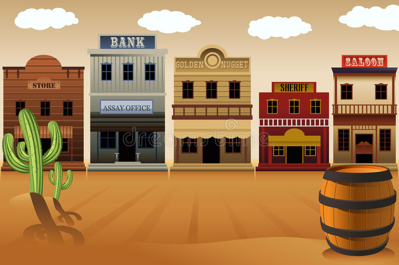 Old western town. A vector illustration of old western town royalty free illustration