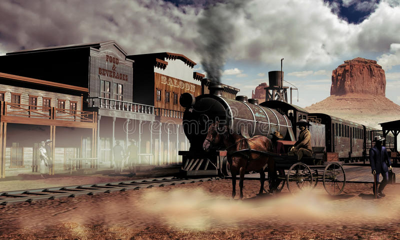 Old western town. View of the street of a western town, in Monument Valley, with several edifices, people and a cart waiting close to the railways. The steam