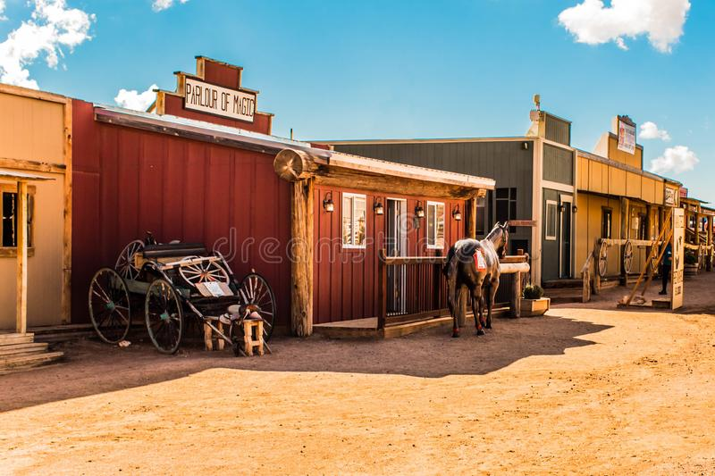 Old western village colored buildings in hualapai tribe reservation Arizona USA 10/22/2018 royalty free stock photography