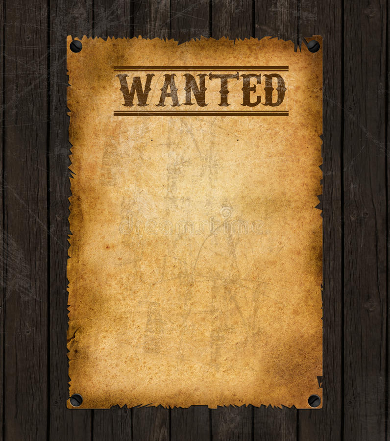 Old Western Wanted Poster. Old Vintage Western Wanted Poster Sign stock photos