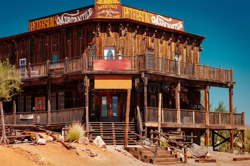Old Western Wooden Building/Saloon in Goldfield Gold Mine Ghost Town in Youngsberg, Arizona, USA royalty free stock image