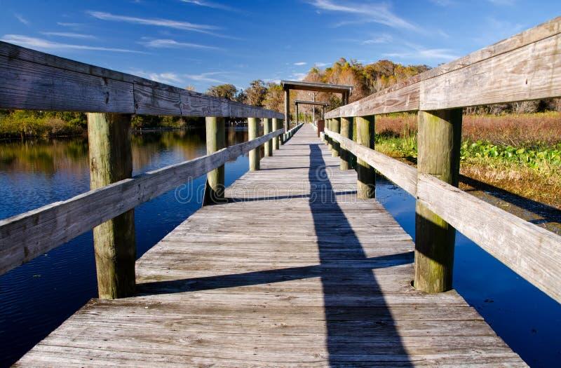 Old wharf on a freshwater lake, Florida. Lake Istokpoga, Highlands County, central Florida stock images