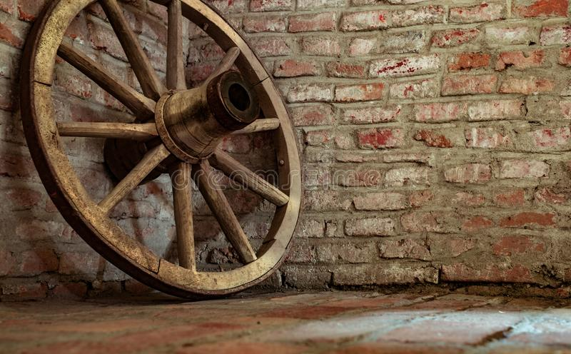 The old wheel of the cart royalty free stock photography