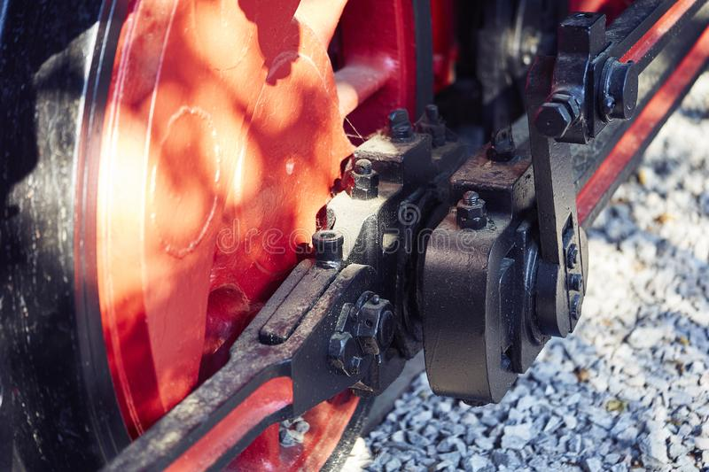 Old wheel of train locomotive royalty free stock images