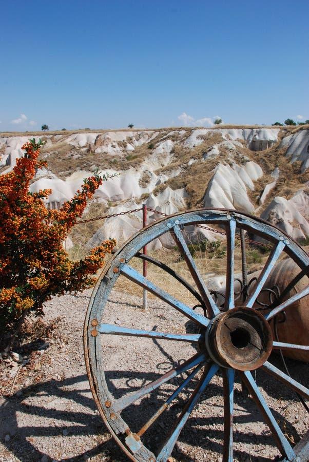 An Old Wheel. Uchisar valley. Turkey stock photography