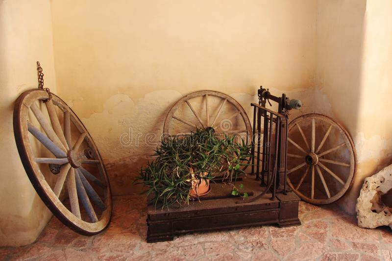 old wheels from a wagon stock photography