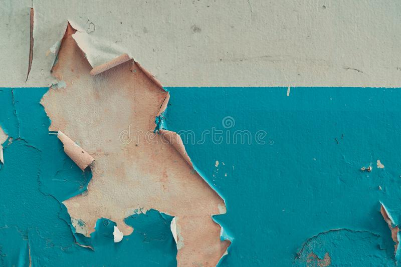 Old white and blue color peeling paint cement walls. Old and dirty concrete wall texture background with space stock photos