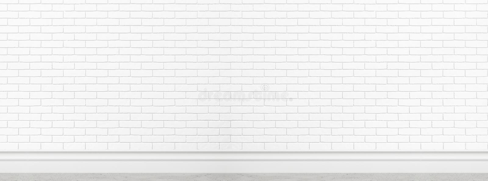 Old white brick wall texture for background usage as backdrop wide screen banner design mockup royalty free stock photos