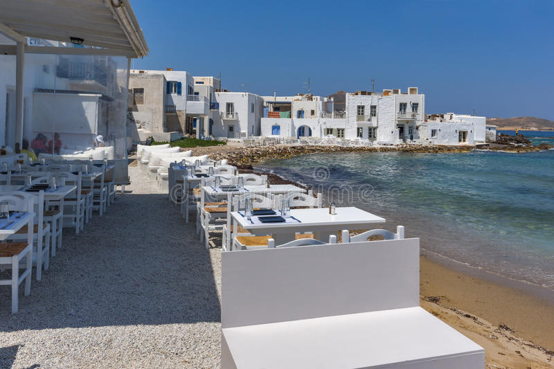 Old white house and Bay in Naoussa town, Paros island, Greece royalty free stock photography
