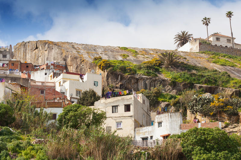 Old white houses in Medina, Tangier, Morocco royalty free stock image
