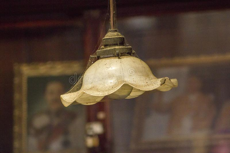 Old white lamps hung on top. The old white lantern hung on top until there was a spider web royalty free stock image