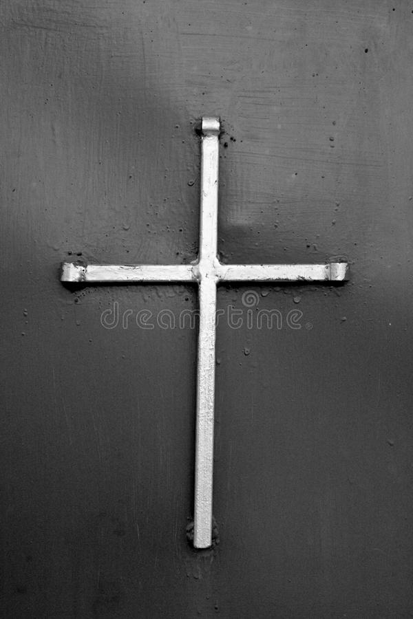 Old White Metal Cross royalty free stock images
