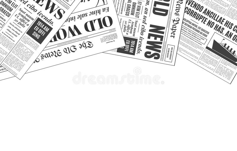 Old white newspaper design vector template with copy space. Old white newspaper vintage design with copy space. Retro background vector template with place for royalty free illustration