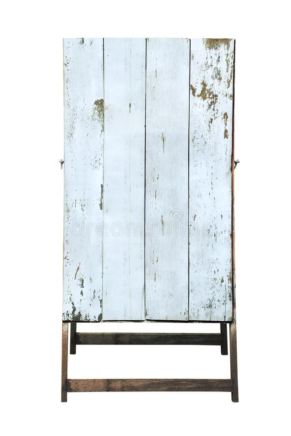 Old White Painted A-frame, Sandwich Board, Sidewalk Wooden Blank Sign Isolated on White Background stock photography
