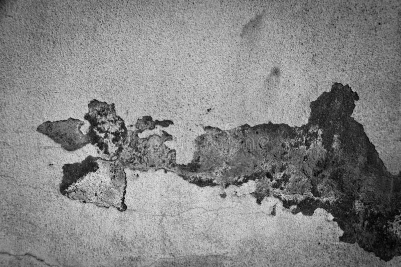 Old white painted wall, paint poured. Filthy, debris. Old white painted wall, paint poured. Grey and white. Crack, broken royalty free stock images