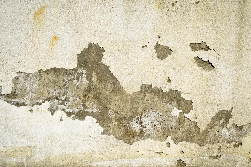 Old white painted wall, paint poured. Grey and white. Crack, broken stock image